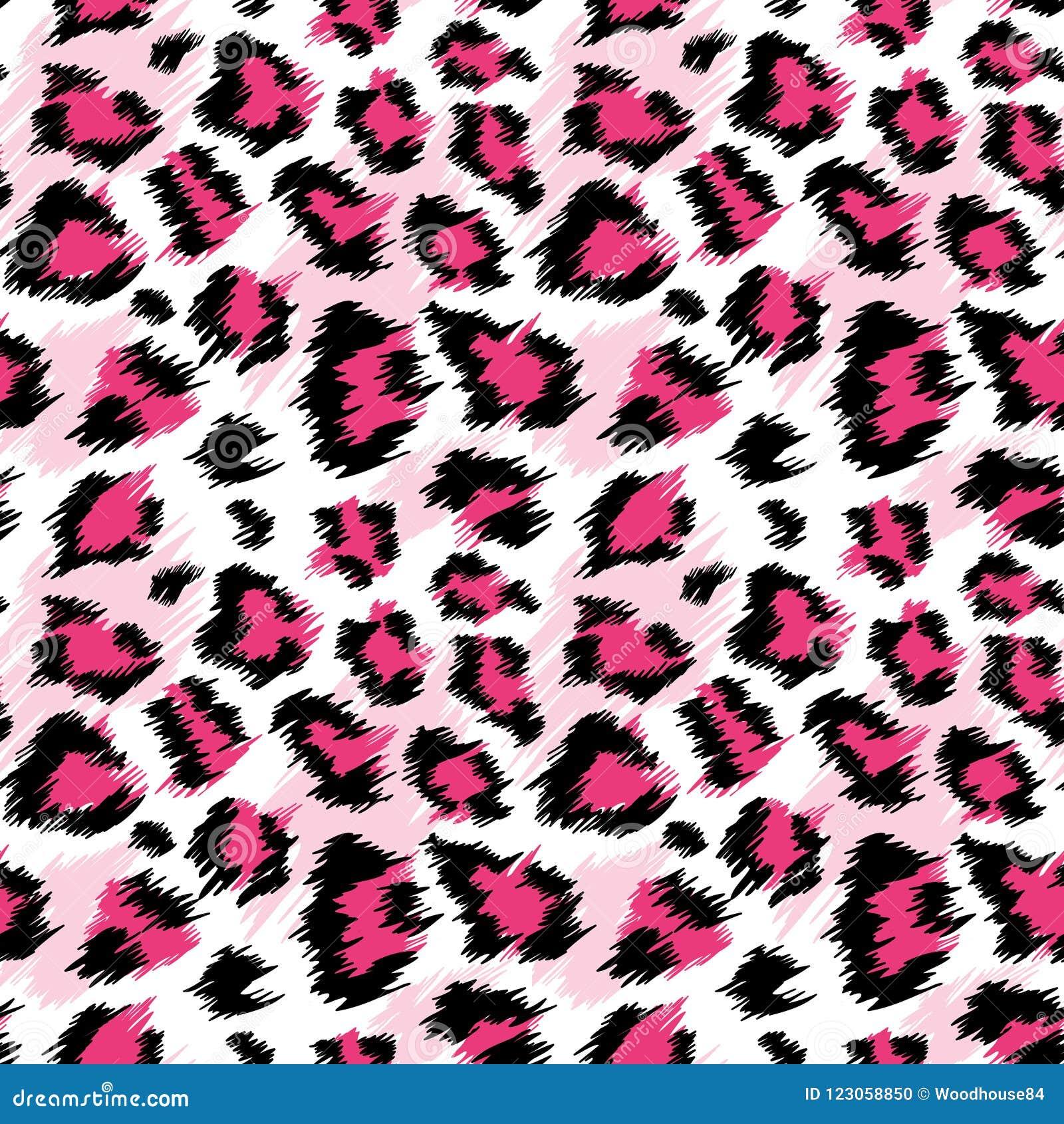 Modnego Różowego lamparta Bezszwowy wzór Stylizowany Łaciasty lampart skóry tło dla mody, druk, Tapetowa tkanina