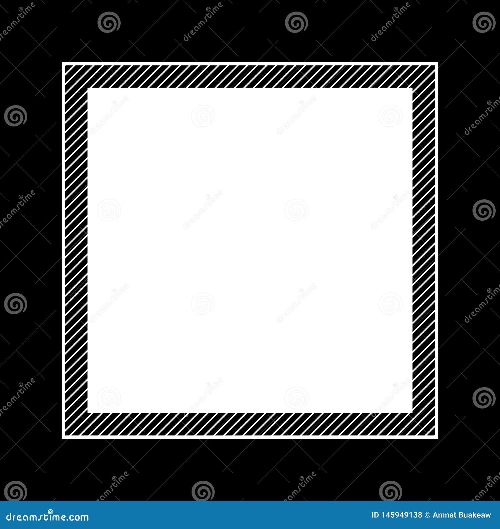 Modnego ramowego czarnego koloru mieszkania nieatutowy styl i kwadrat dla kopii przestrzeni, pusty ramowy czerń dla sztandaru pro