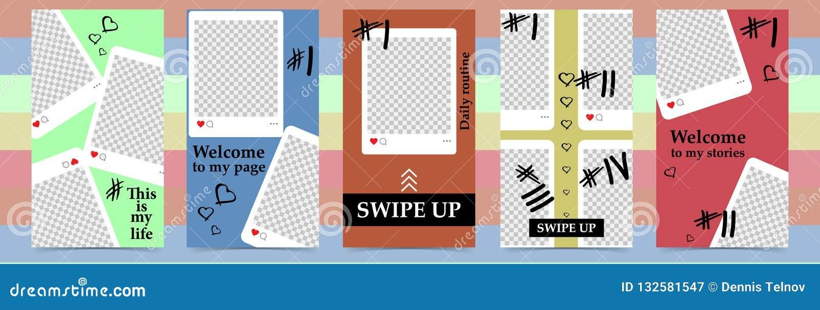 Modni editable szablony dla instagram opowieści, sprzedaż Projektów tła dla ogólnospołecznych środków Ręka rysująca abstrakt kart