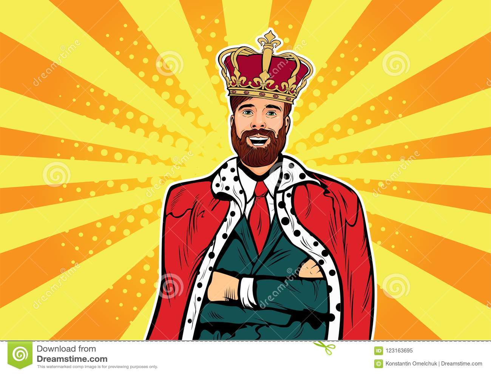 Modnisia biznesu królewiątko Biznesmen z brody i korony wystrzału sztuki ilustracją pojęcia lidera serie target327_1_ pastylki