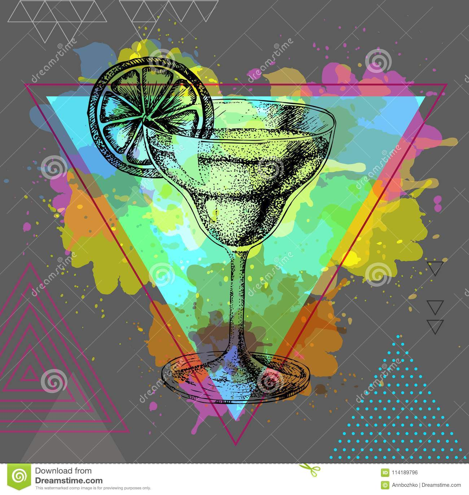Modnisia koktajlu margarita ilustracja na wielobok akwareli tle