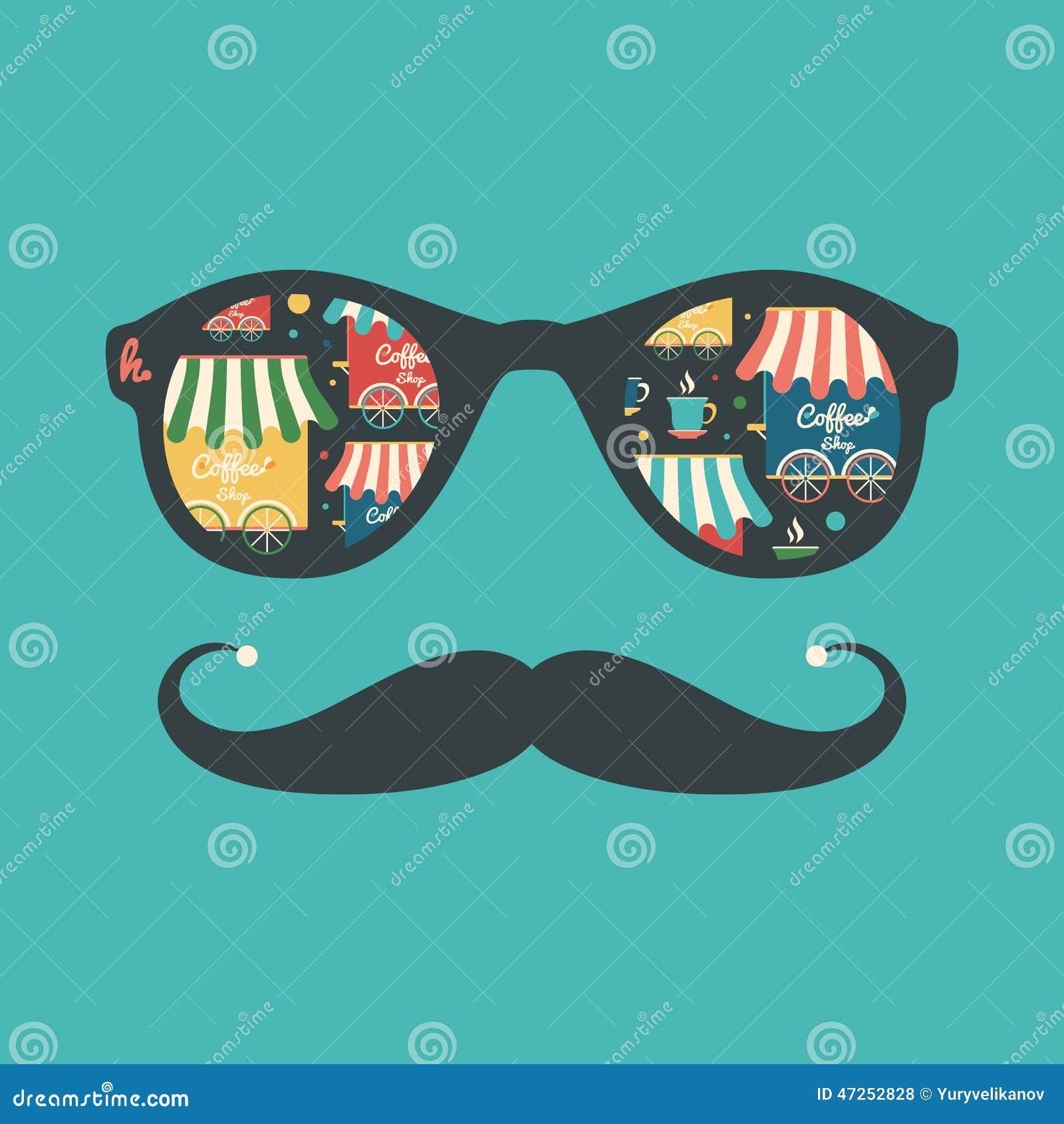 Modnisia rocznika okulary przeciwsłoneczni z sklep z kawą i filiżankami