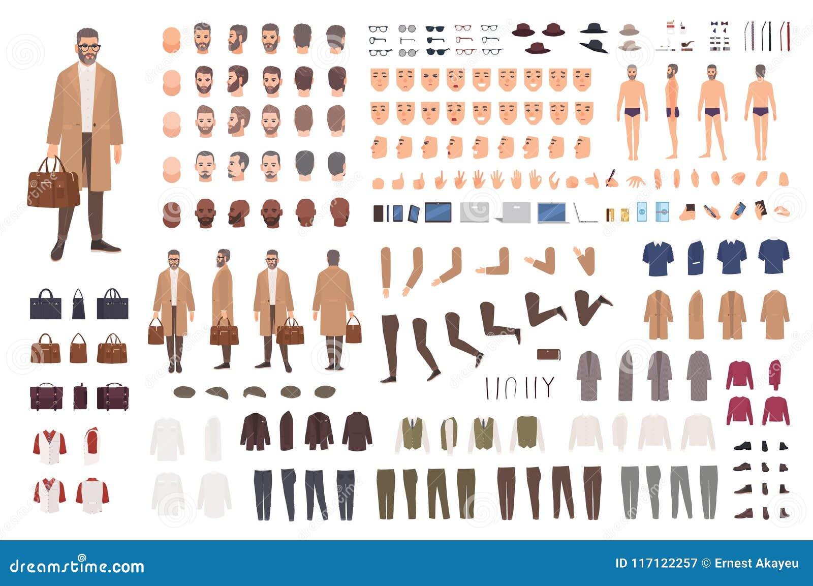 Modny mężczyzna wieka średniego konstruktor lub DIY zestaw Set męskie postać z kreskówki części ciała, wyrazy twarzy