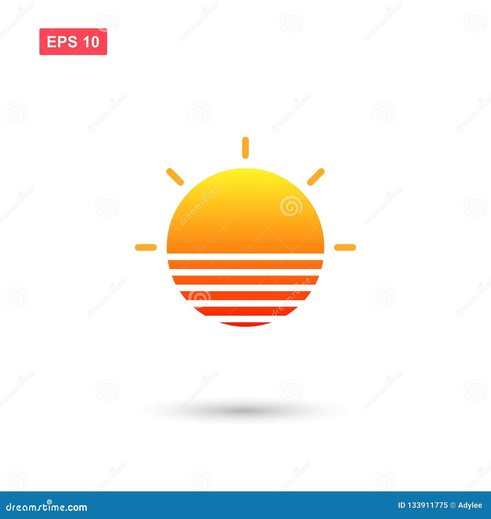 Modny słońce logo z zmierzchu kolorem odizolowywającym