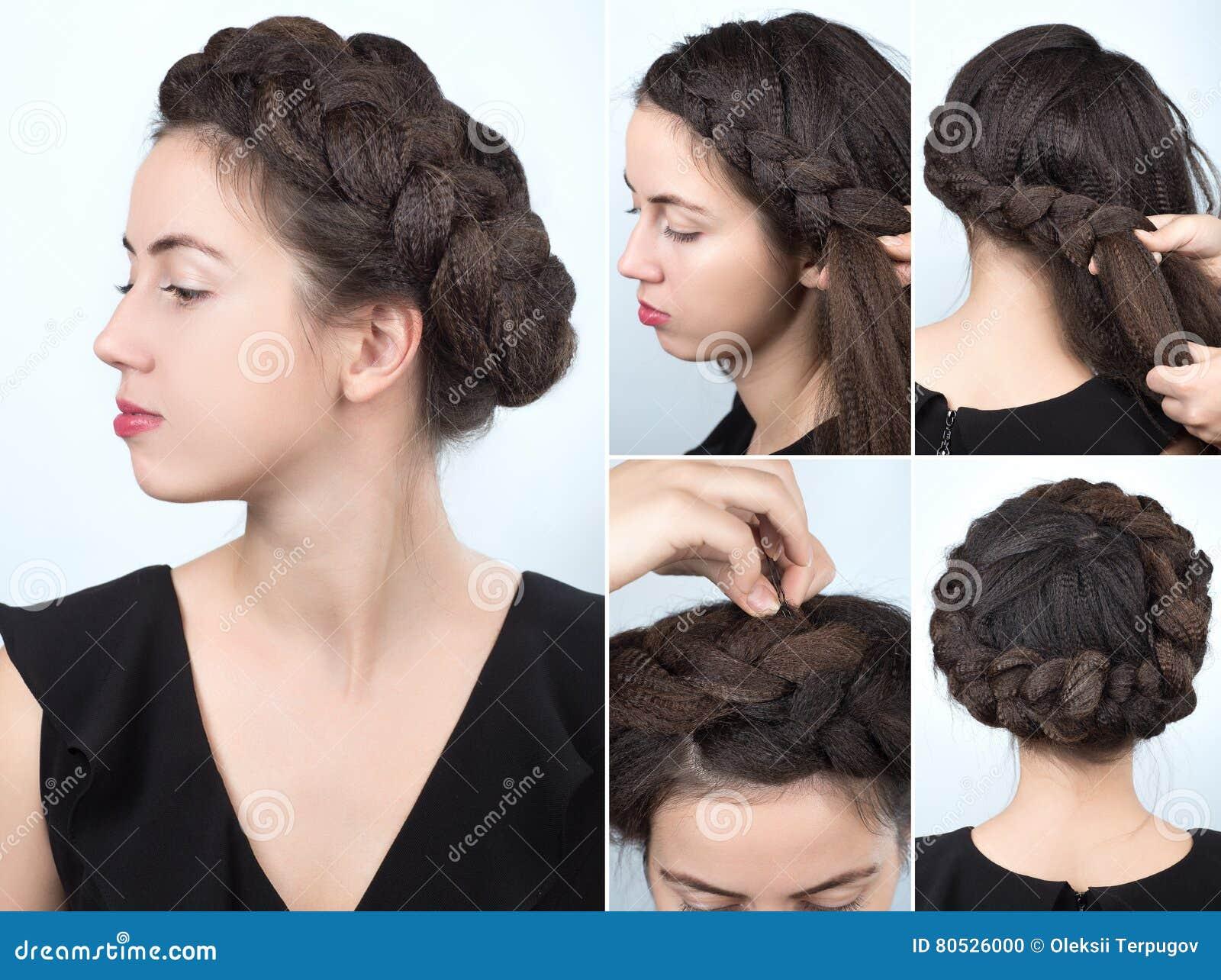 Modny Warkocz Fryzury Tutorial Zdjęcie Stock Obraz Złożonej Z Moda
