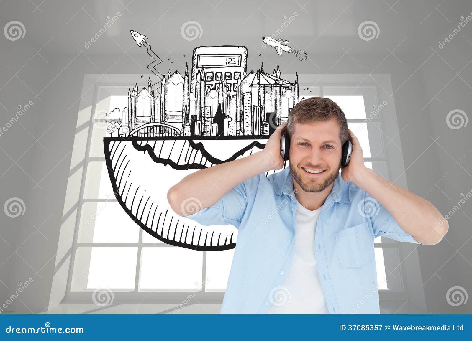 Download Modny Wzorcowy Słuchanie Muzyczna I Patrzeje Kamera Ilustracji - Ilustracja złożonej z digitise, pokój: 37085357