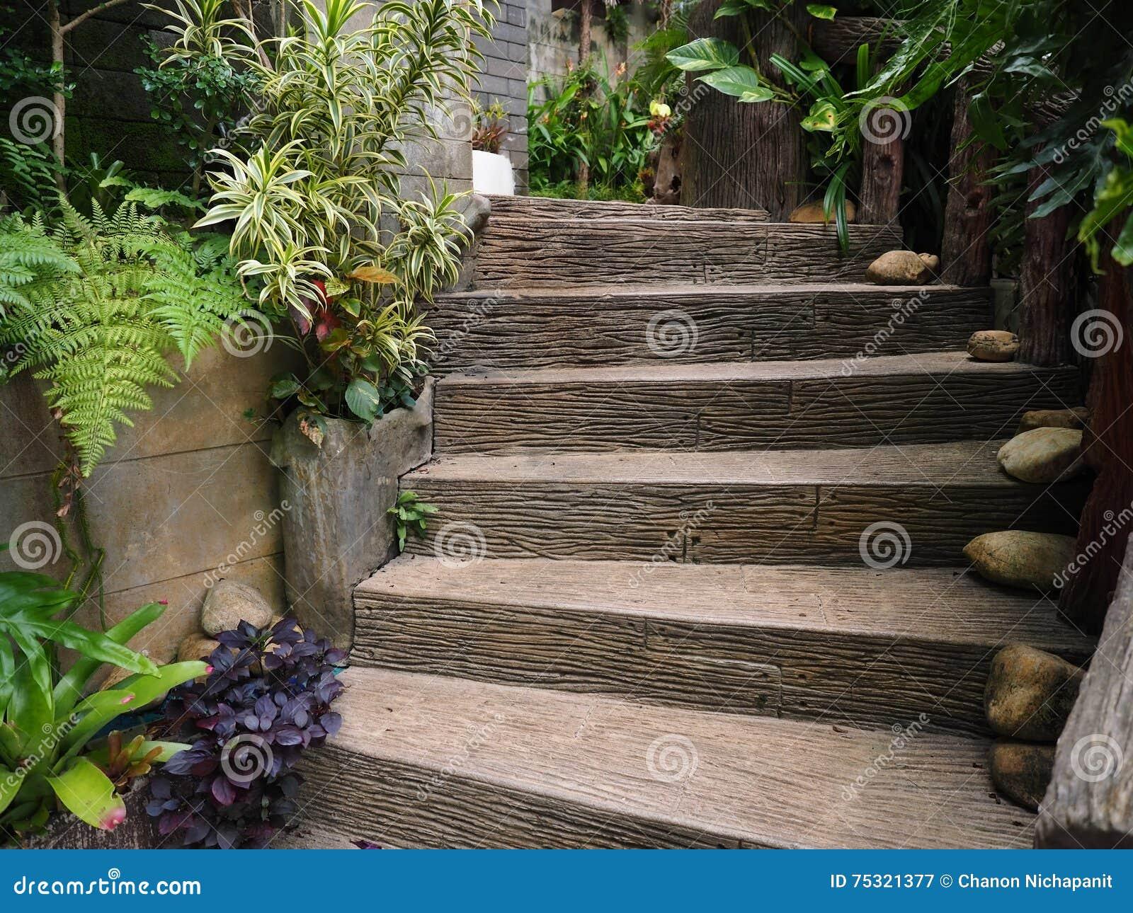 Modo di legno di pietra delle scale in giardino immagine - Scale in giardino ...