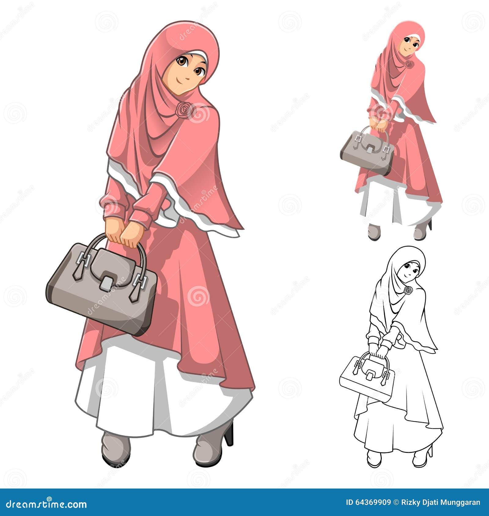 Modo musulmano della ragazza che porta velo o sciarpa verde con il rivestimento giallo e gli stivali