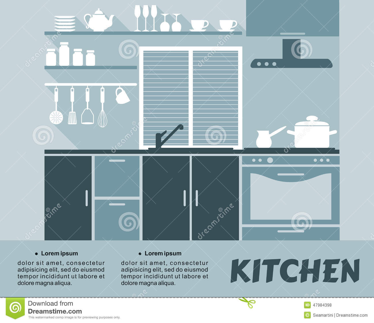 modular kitchen interior in flat design stock vector image 47984398