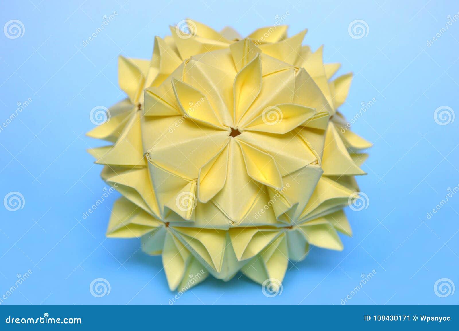 Modular Origami Cherry Blossom Ball Stock Image Image Of Blue