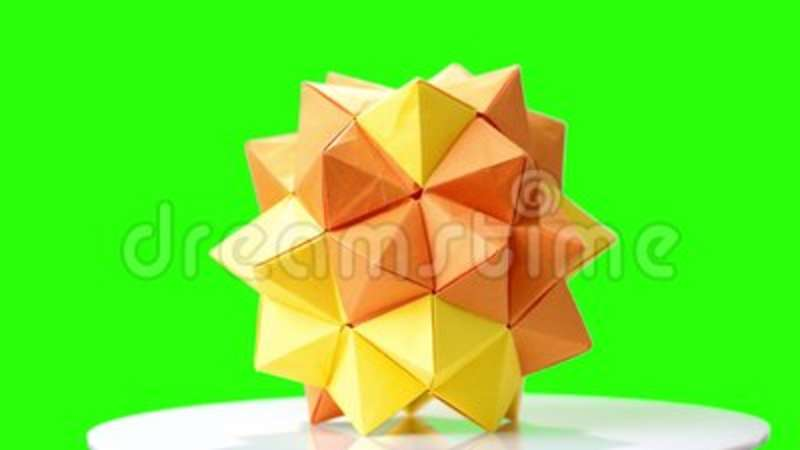 Modular Origami Flower On Green Screen Stock Footage Video Of