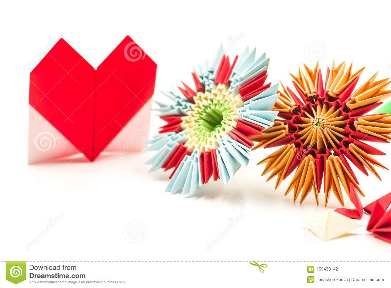 Modular Origami Flower With Paper Valentine Isolated On White