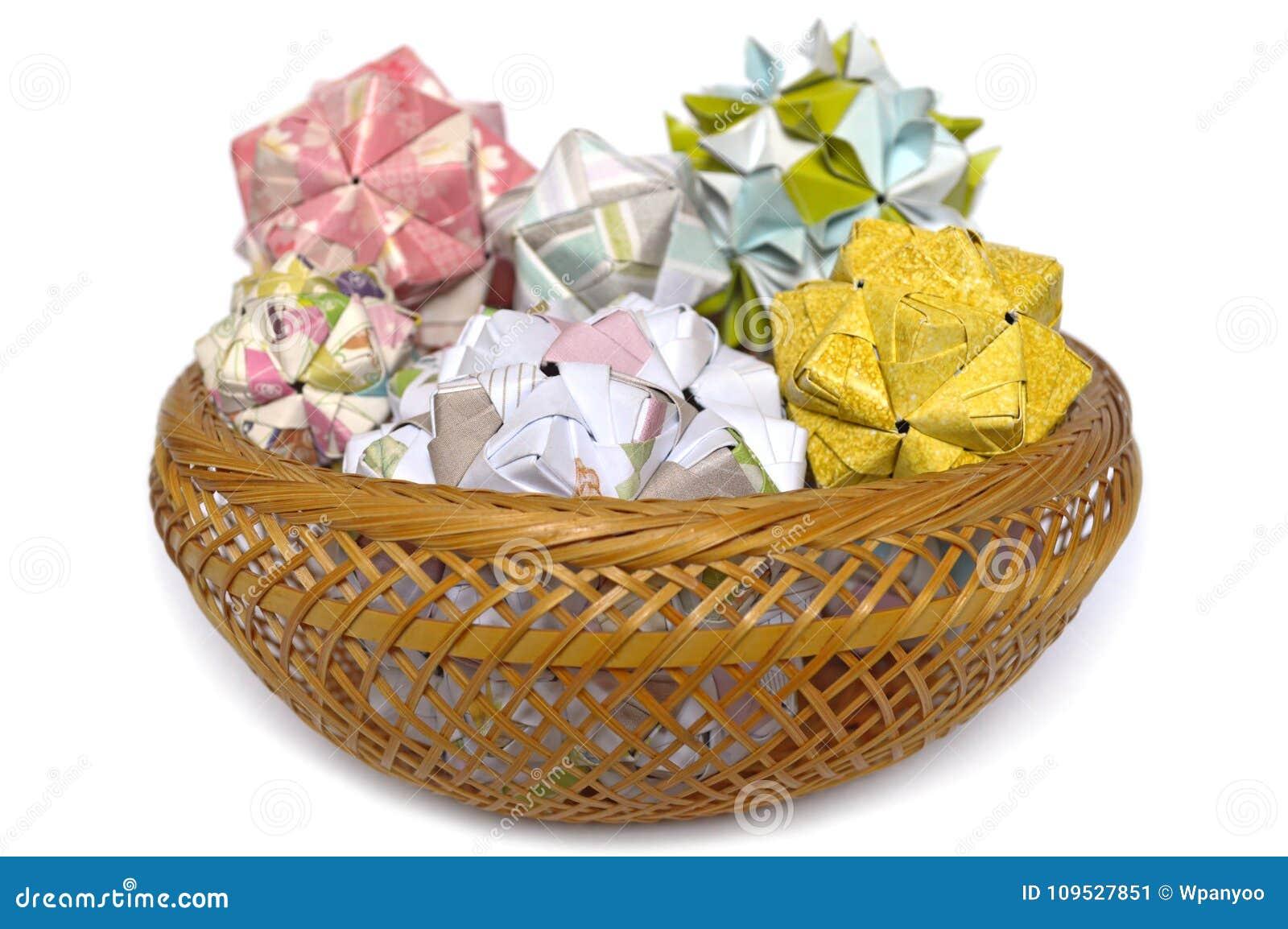 Modular Origami Sonobe Ball And Cherry Blossom Stock Image Image