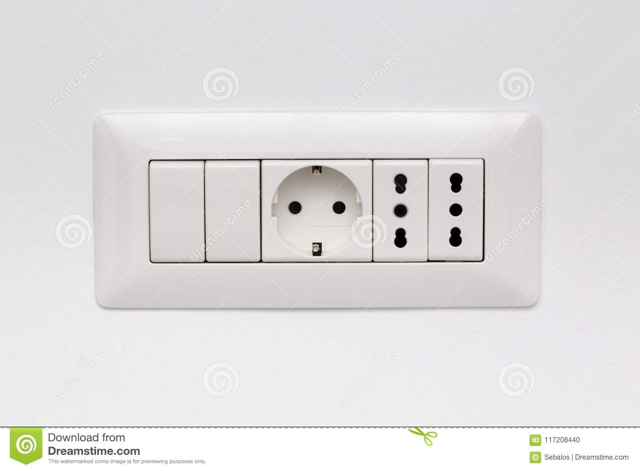 Modular Socket Composed By Three Power Outlet And Two Switches Stock ...
