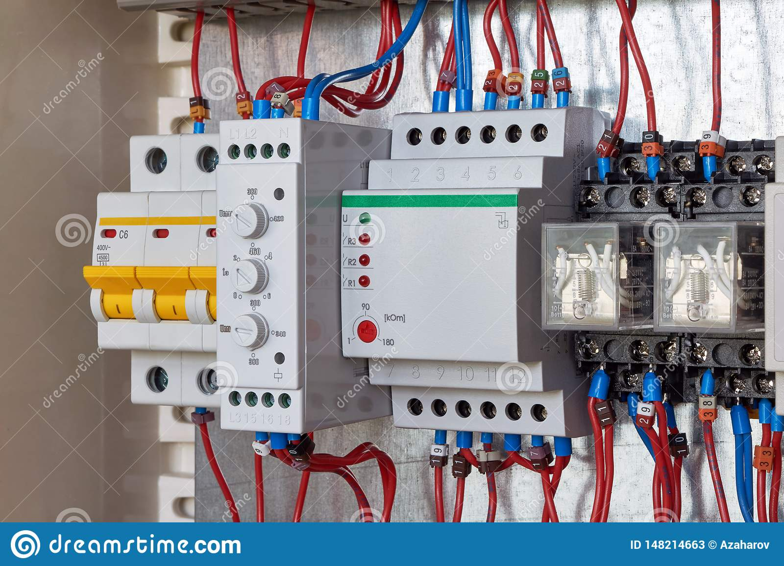 Circuit breaker, phase control relay, level control relay, intermediate relays in electrical Cabin