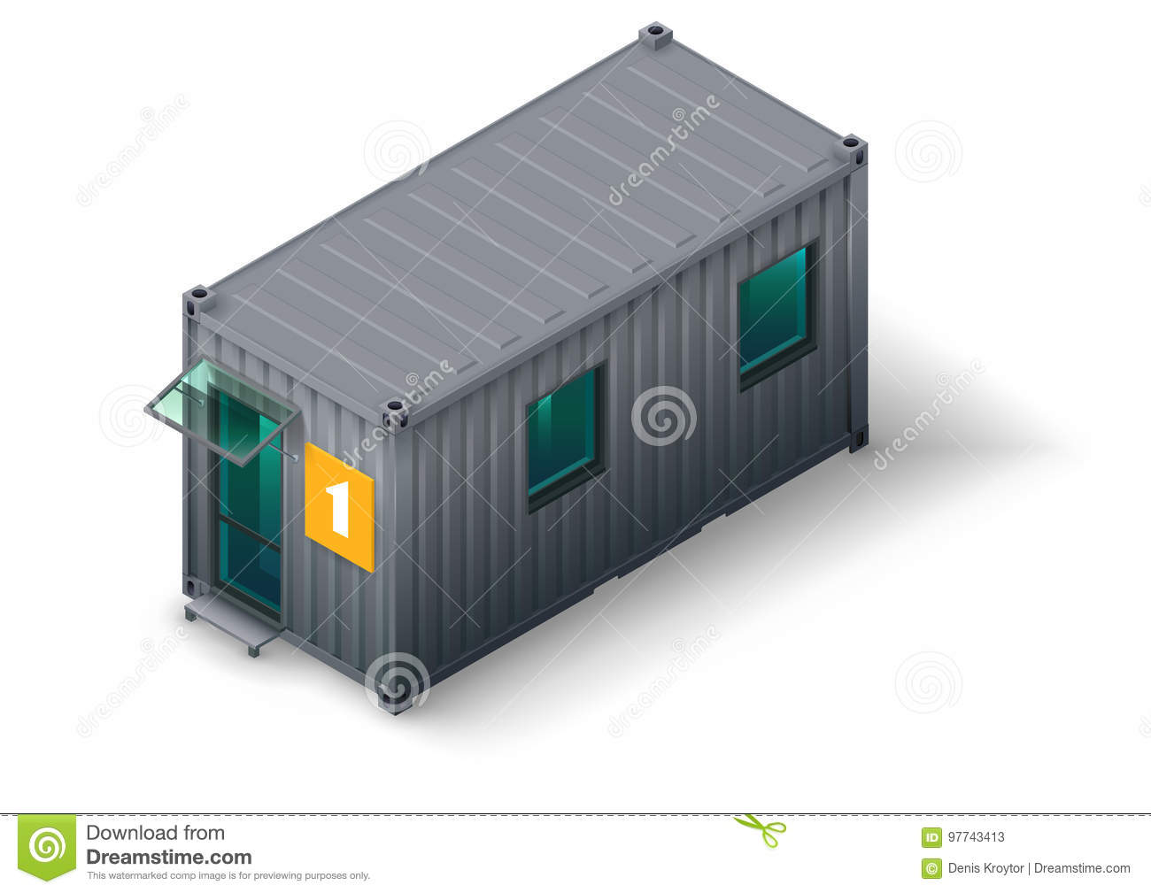 Module Container Building Stock Vector Illustration Of Site 97743413
