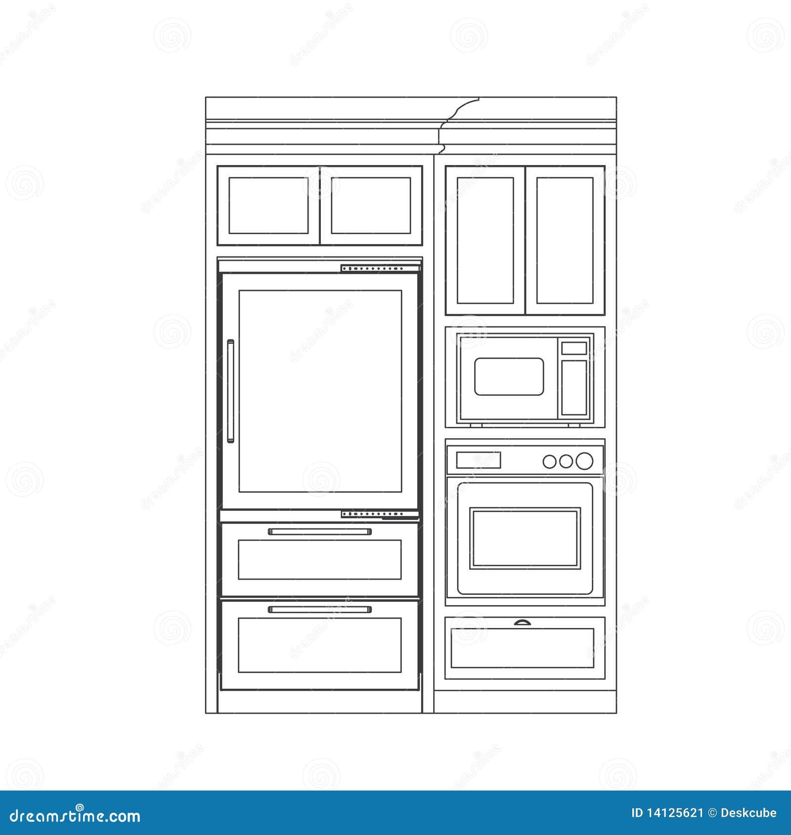 Module de cuisine illustration de vecteur illustration du for Module cuisine