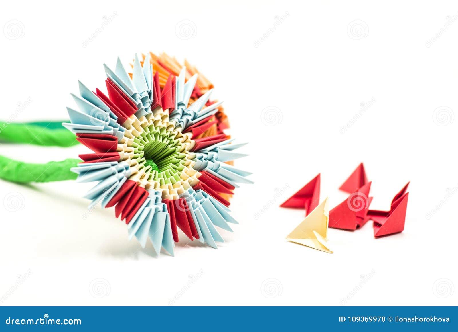 Modular Origami Flower With Blocks Isolated On White Background