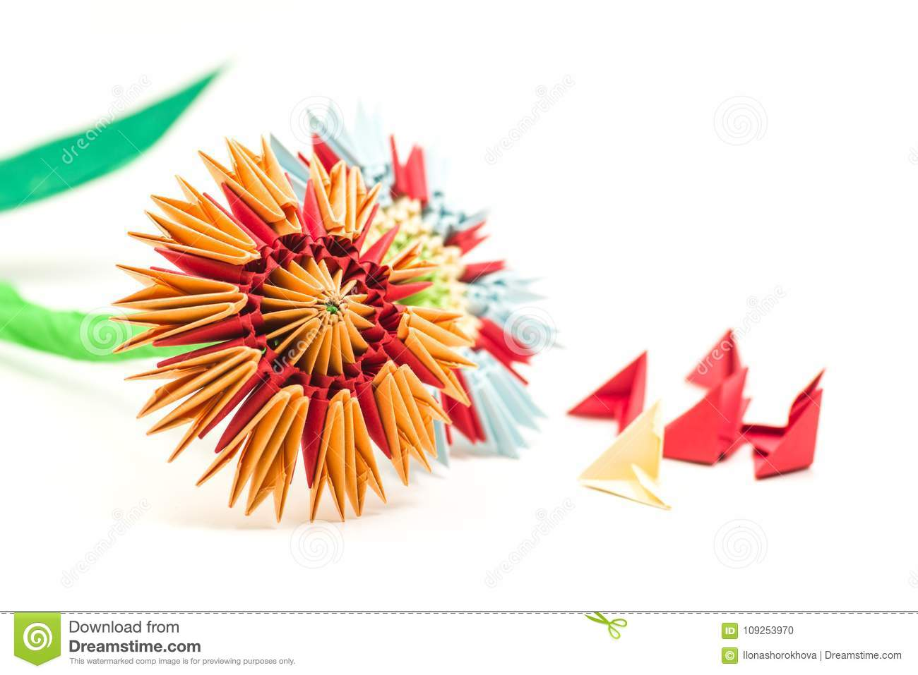 Modular Origami Flowers With Modules Isolated On White Background