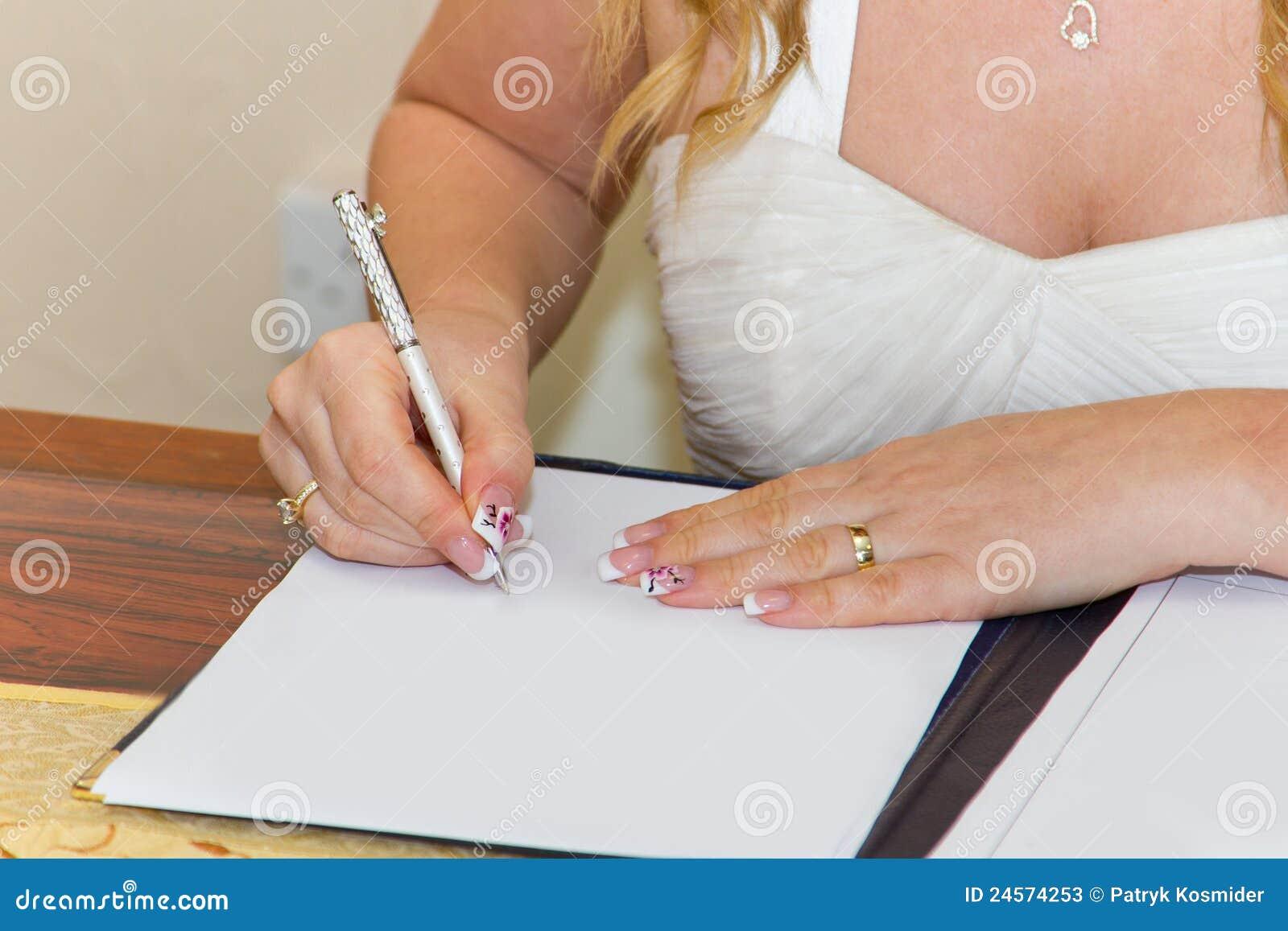 Modulo di registro di sign di unione della sposa