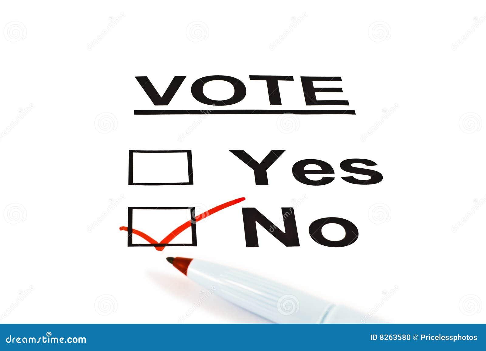 Modulo sì/no della scheda elettorale di voto senza controllato