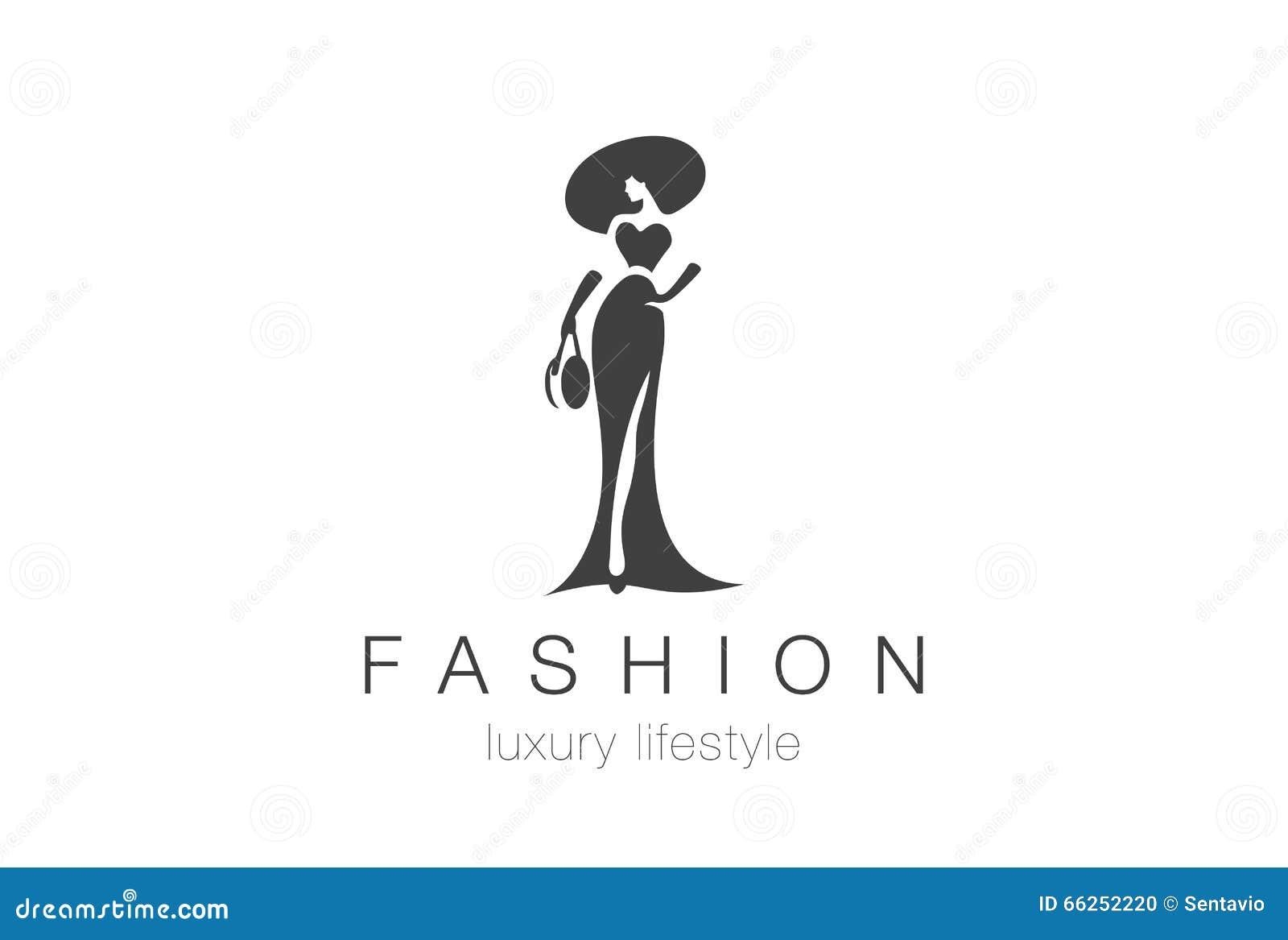 Mody Eleganckiej kobiety logo Dama negatywu przestrzeni biżuterii ikona
