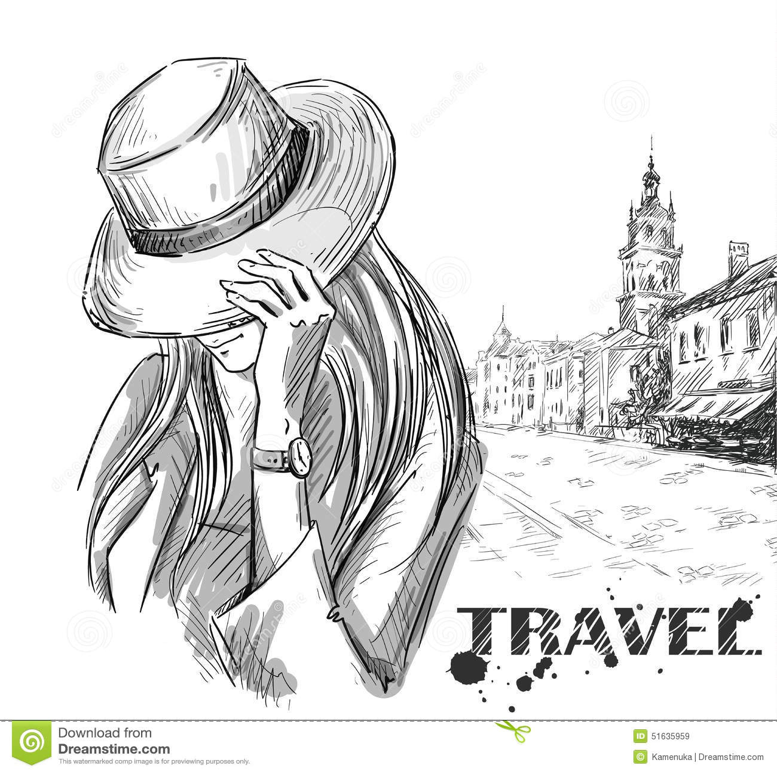 Mody ilustracja dziewczyna na starym grodzkim tle ręka patroszona