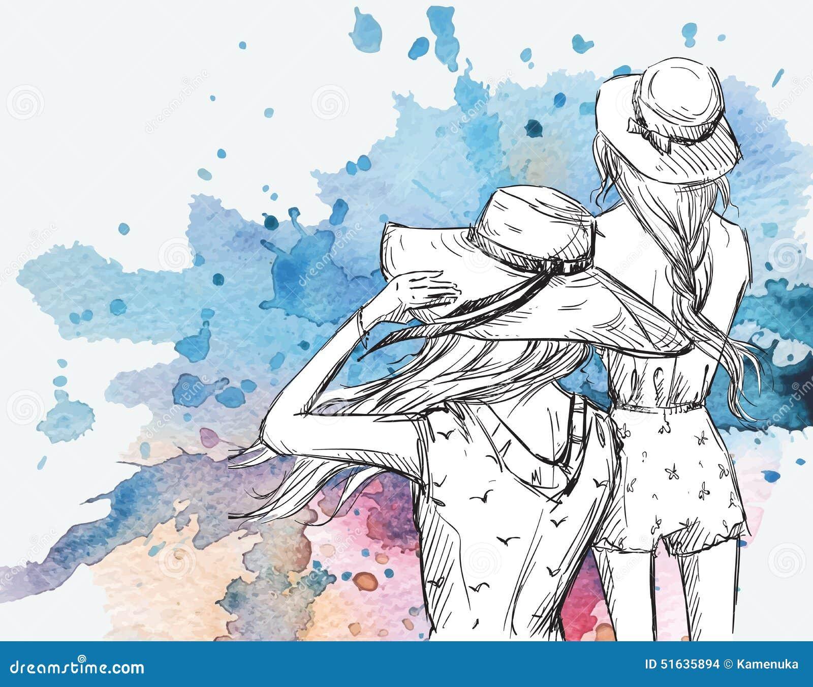Mody ilustracja Dziewczyny w kapeluszach na akwareli tle