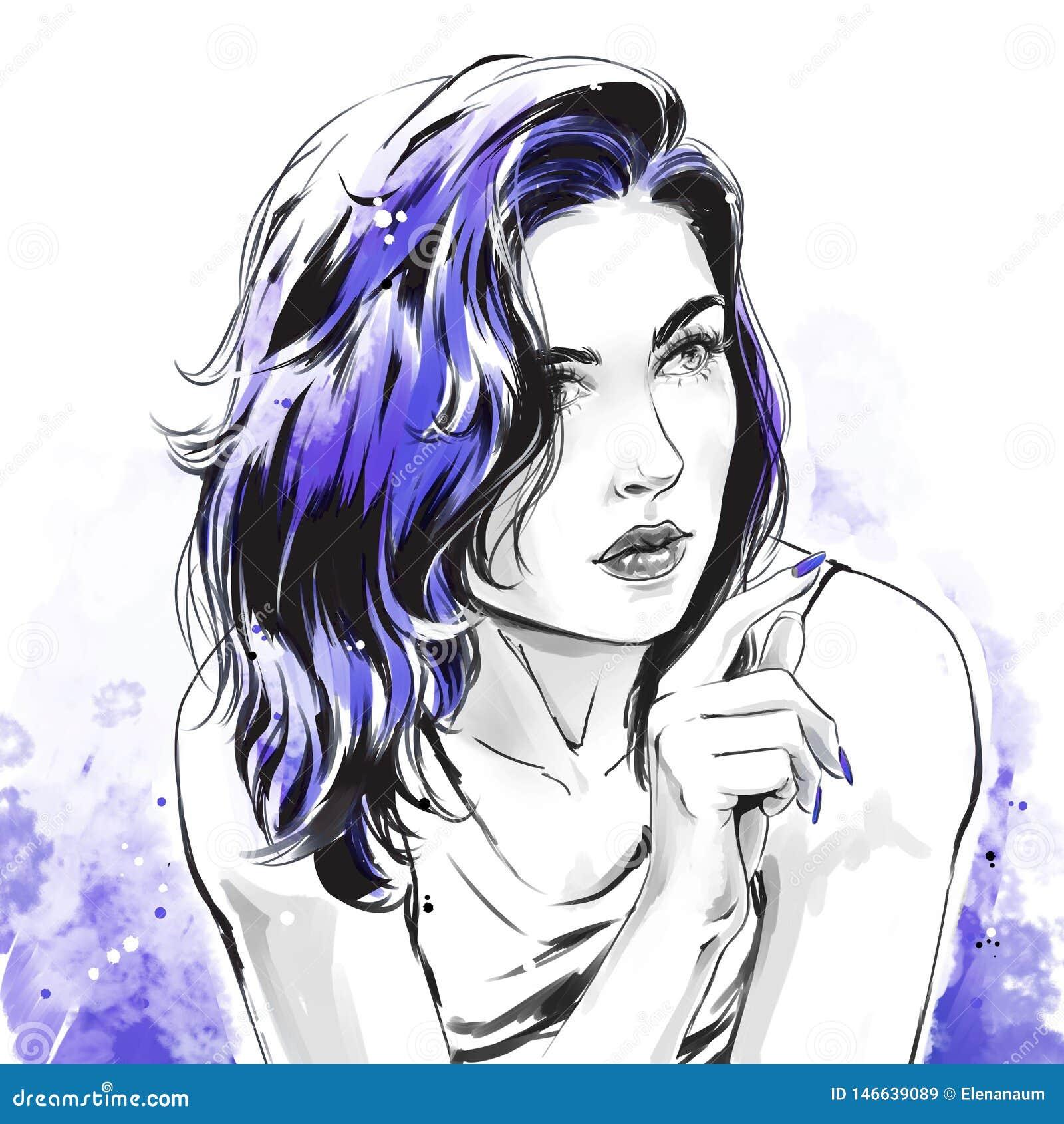 Mody ilustracja, portret pi?kna kobieta