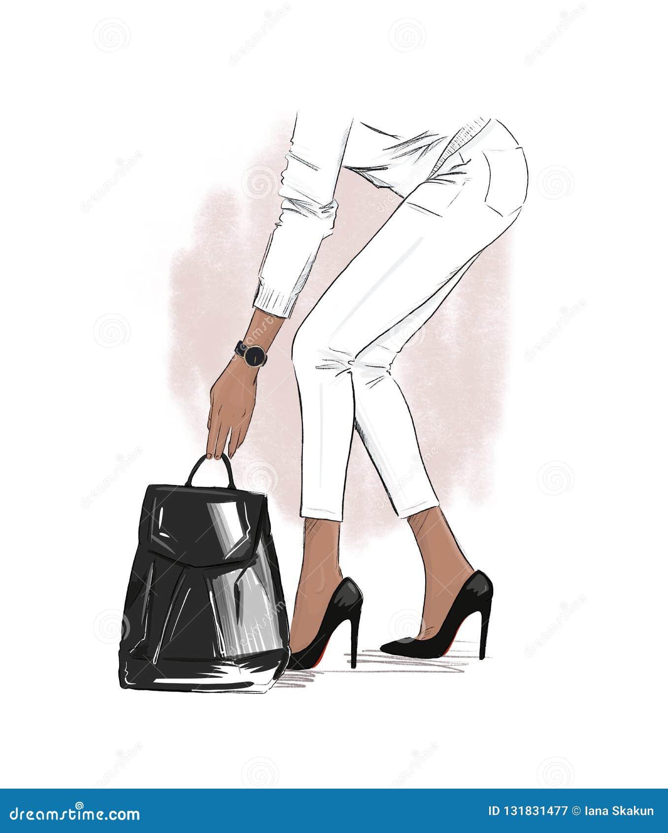Mody ilustracja Przypadkowy spojrzenie strój Kobieta w białych spodnia, pulowerze i czarne szpilki i bierze torbę