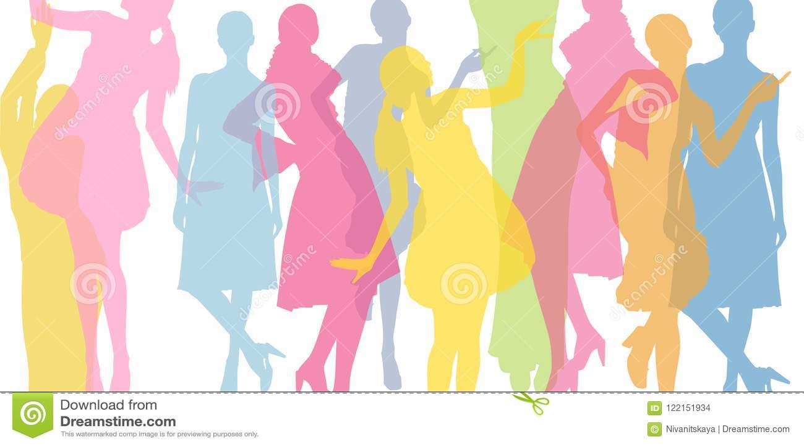 Mody kolorowy tło Przejrzyste barwione sylwetki dziewczyny