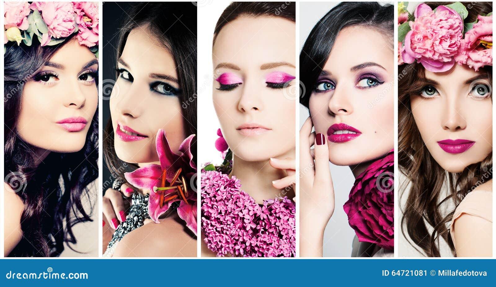 Mody piękna twarze Set kobiety Purpura Barwi Makeup