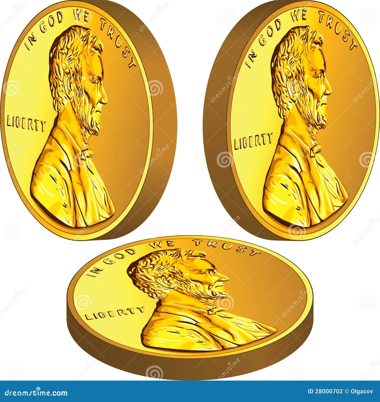 Moeda americana do dinheiro do ouro com Lincoln