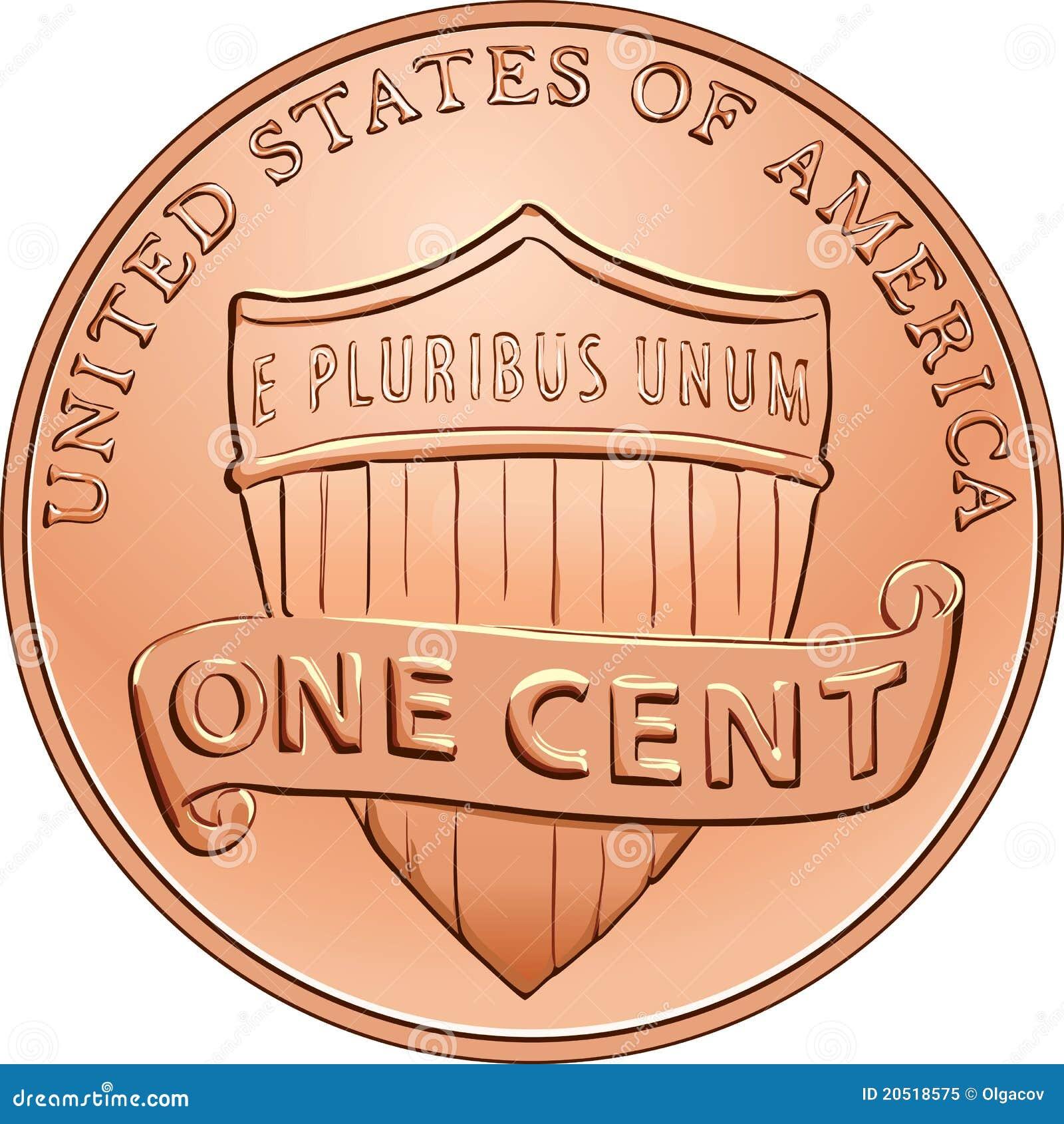 Moeda americana do vetor um centavo, moeda de um centavo