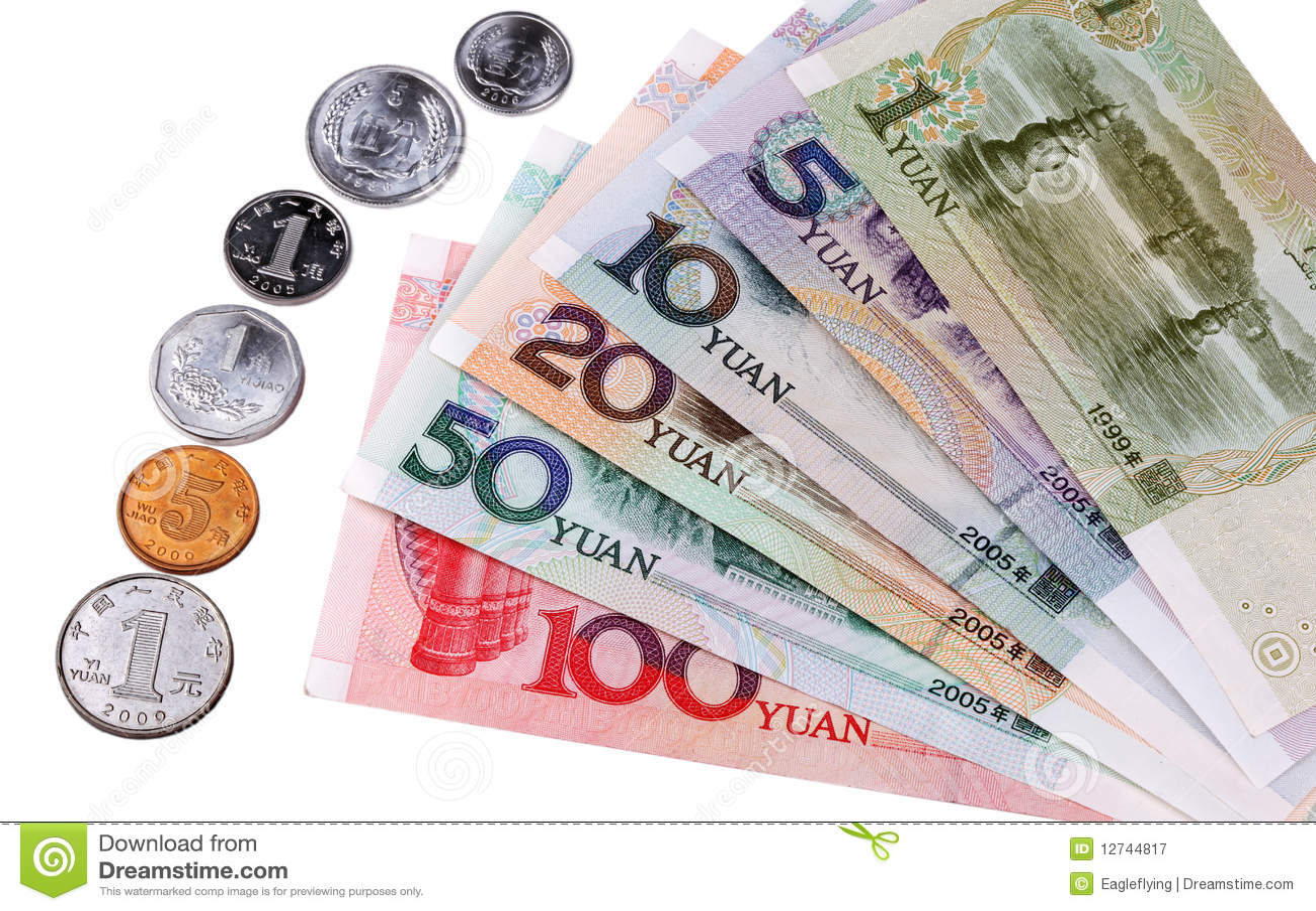 Moeda chinesa: Tipos de notas de banco e de moedas