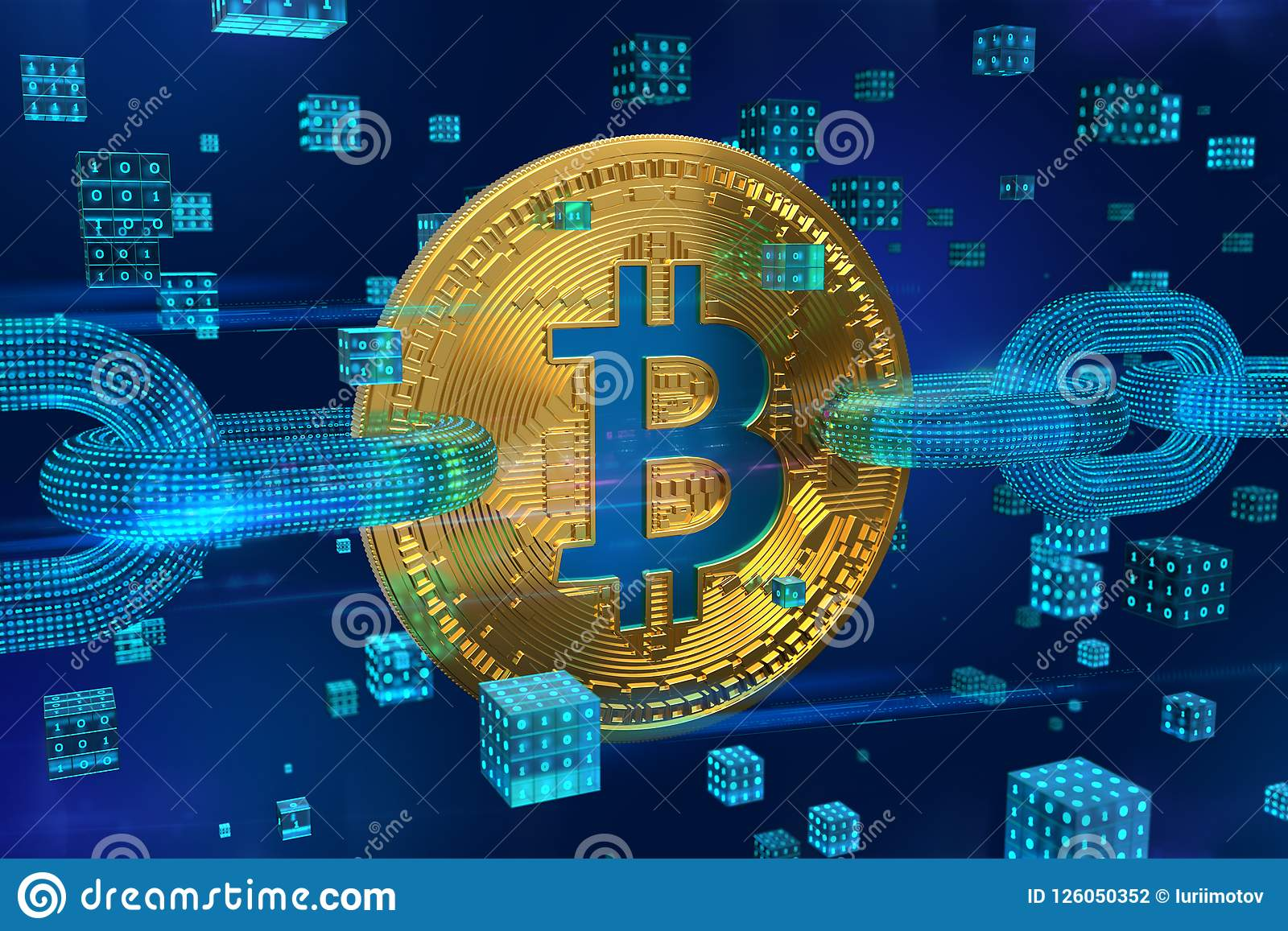 Moeda cripto Corrente de bloco Bitcoin bitcoin 3D dourado físico isométrico com corrente do wireframe e blocos digitais Blockchai