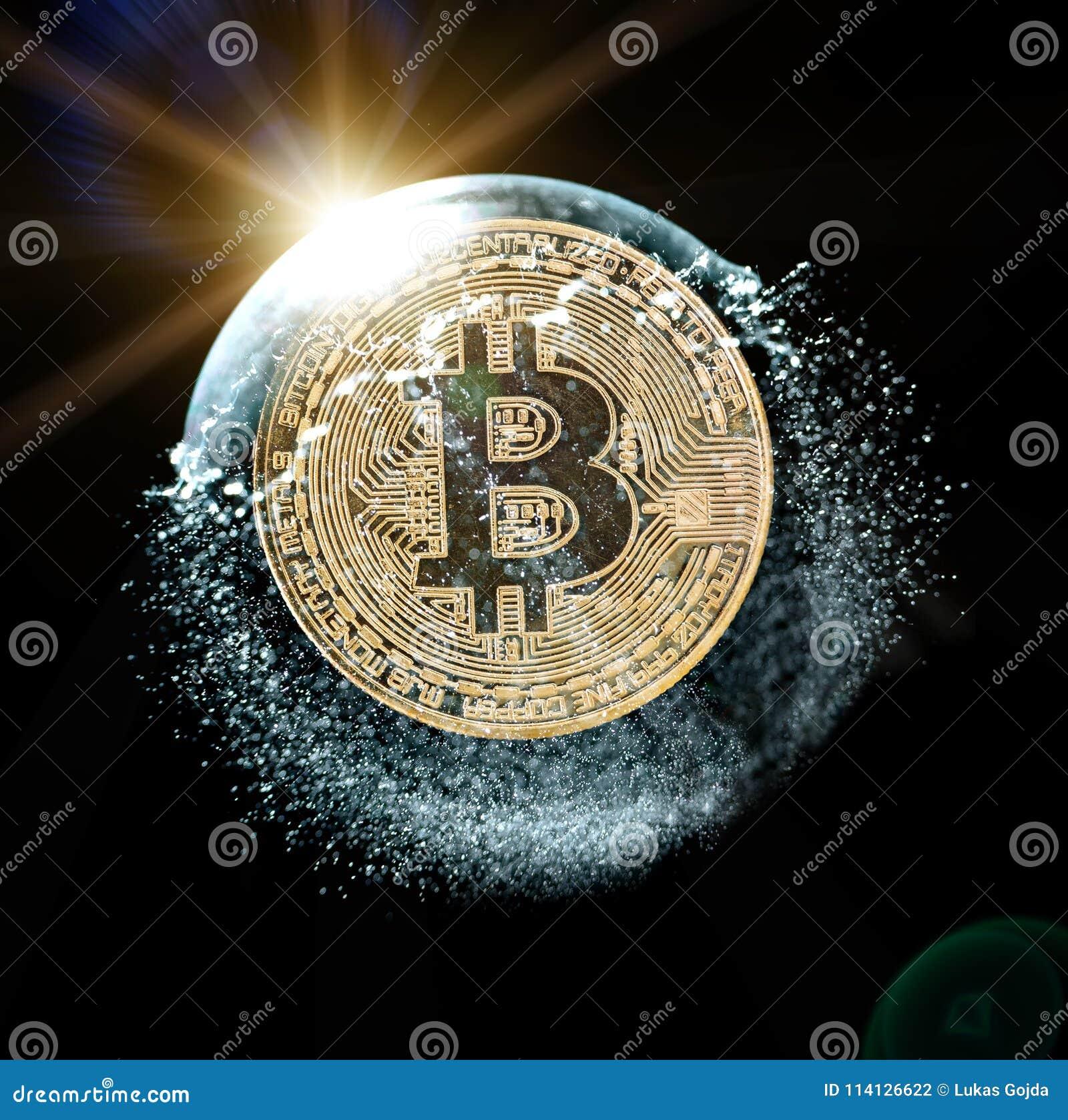 Moeda de Bitcoin em uma bolha de sabão Conceito da instabilidade da moeda cripto