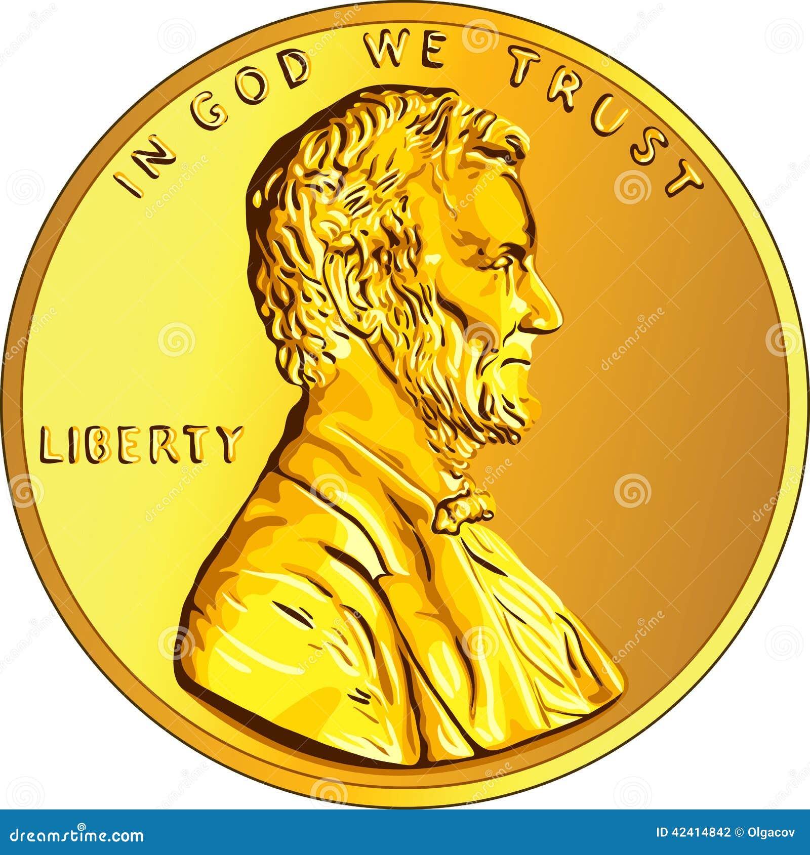 Moeda de ouro americana do dinheiro um centavo, moeda de um centavo