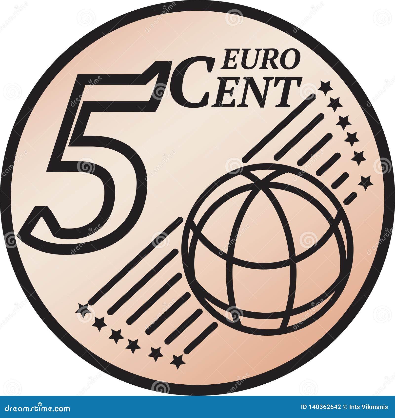 Moeda do centavo do euro cinco