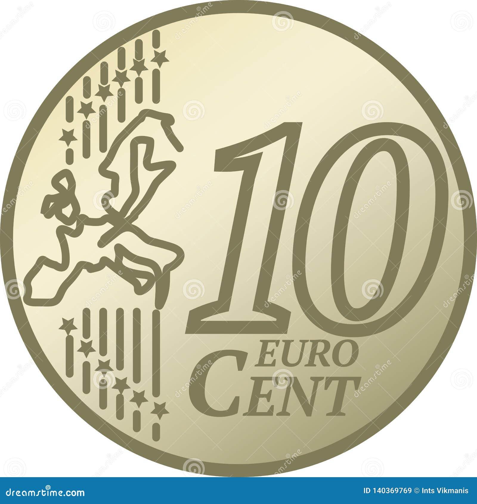 Moeda do centavo do euro dez