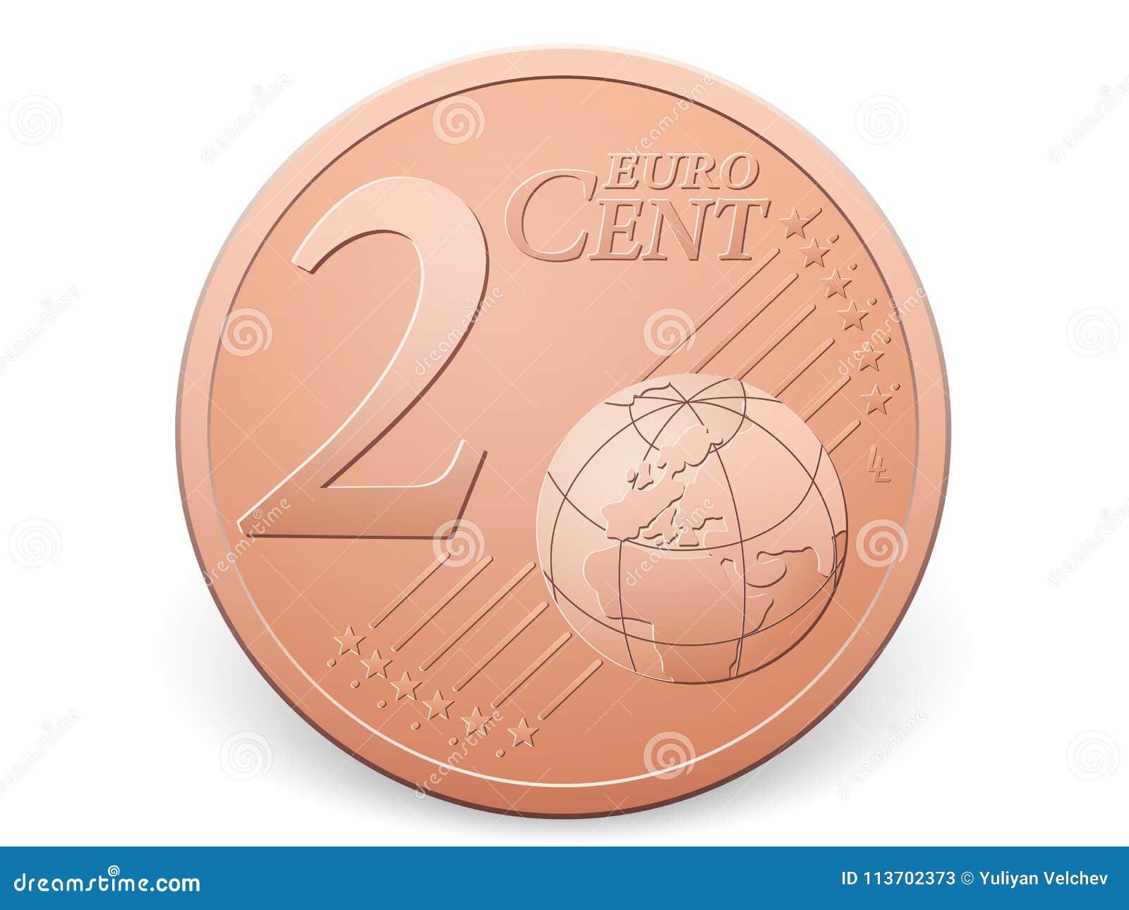 Moeda do centavo do euro dois