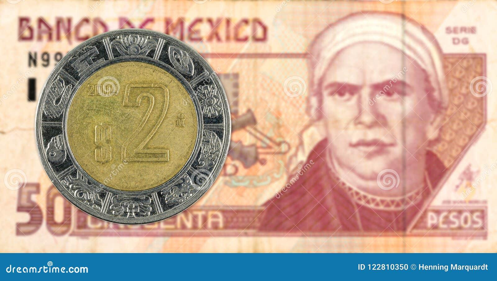 Moeda mexigan do peso 2 contra a cédula do peso 50 mexicano