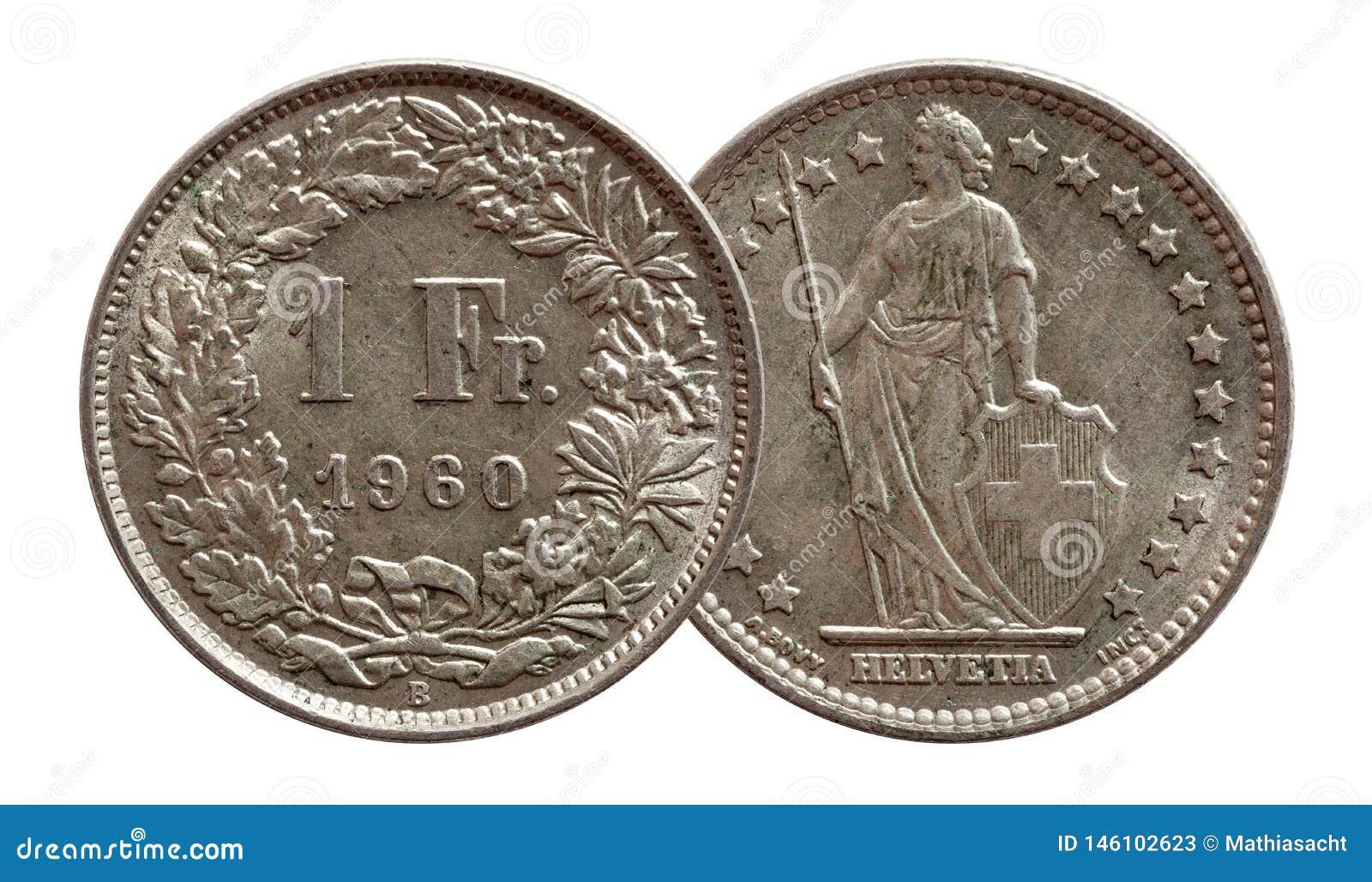 Moeda suíça 1 de Suíça uma prata do franco 1960 isolada no fundo branco