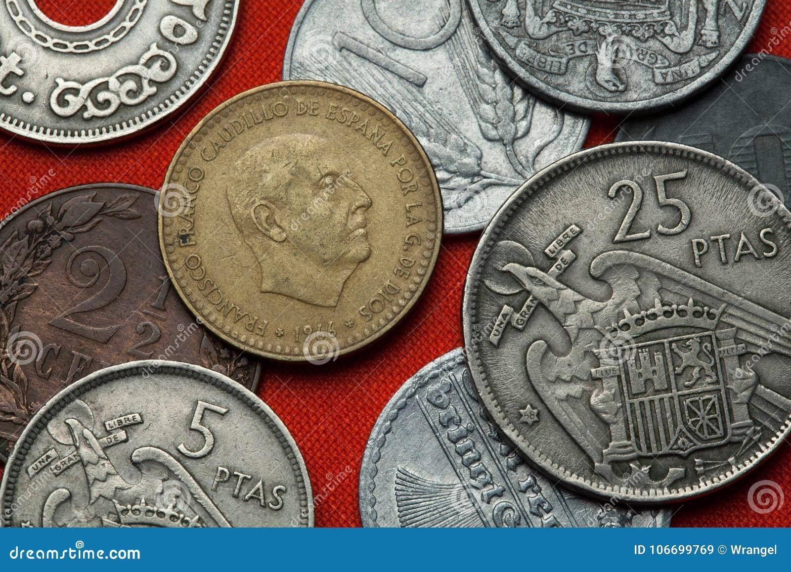 Moedas da Espanha Ditador espanhol Francisco Franco
