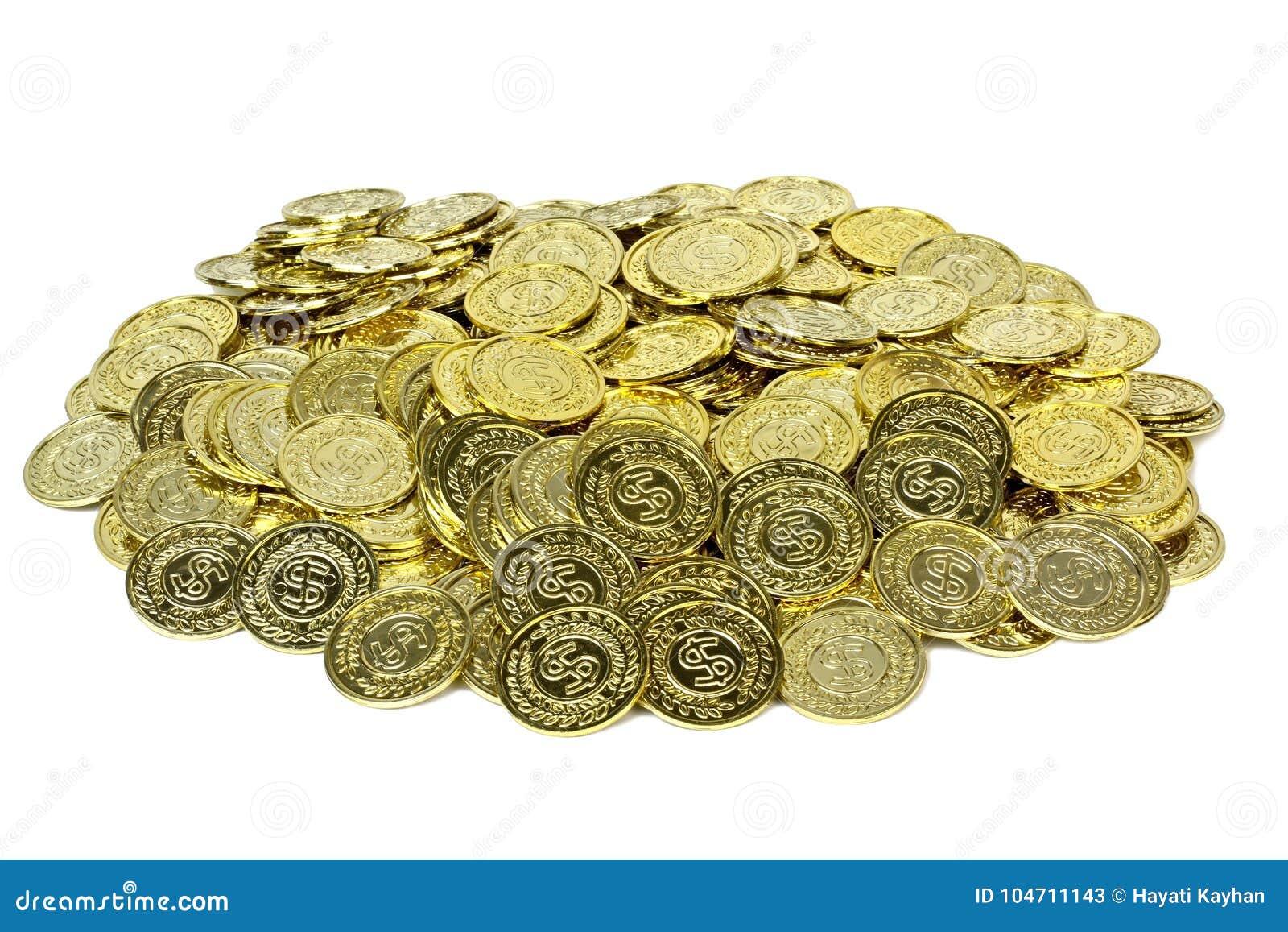 Moedas de ouro em um malote de veludo
