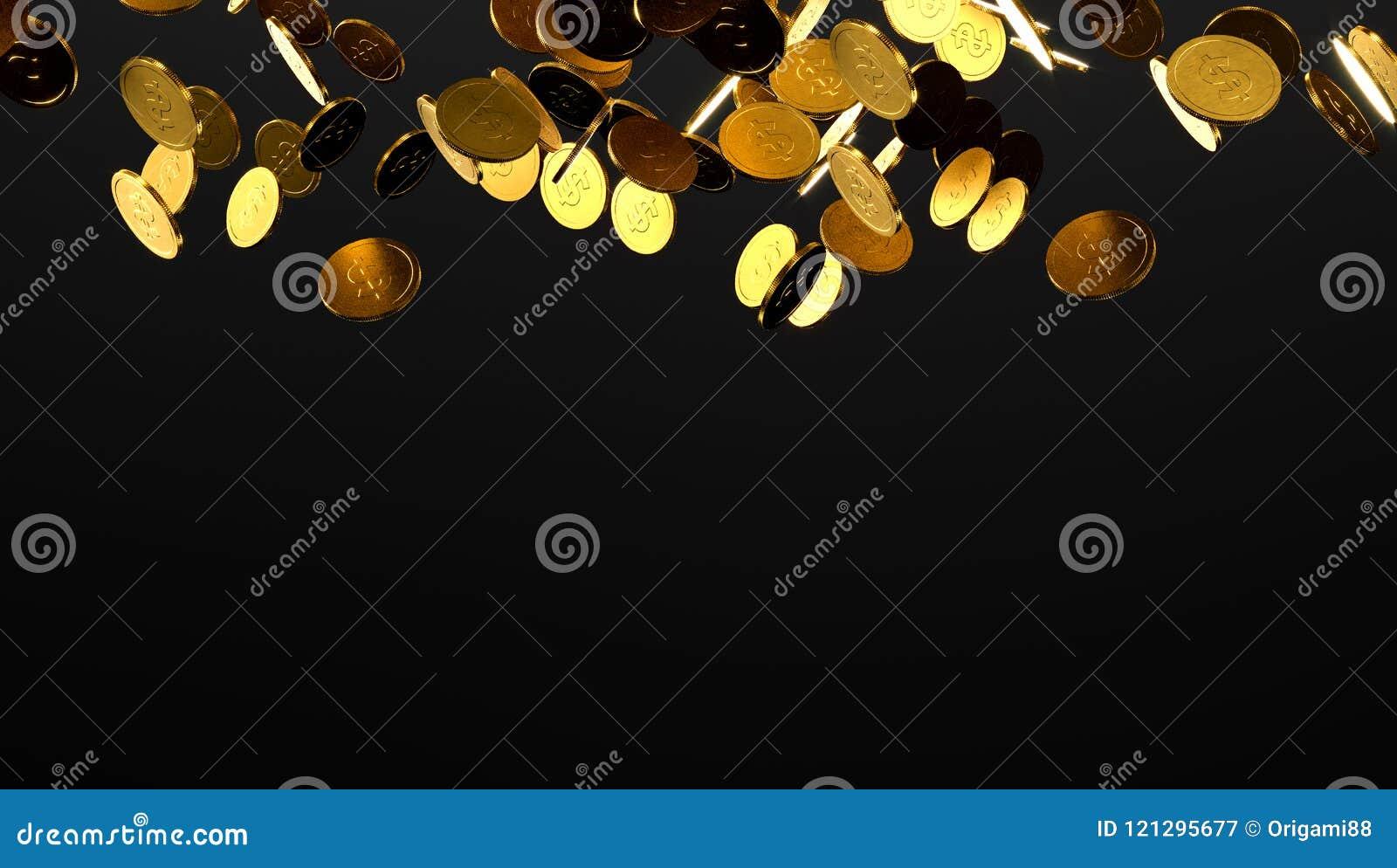 Moedas de ouro de queda Chuva das moedas douradas Moedas com o sinal de dólar isolado no fundo preto ilustração 3D