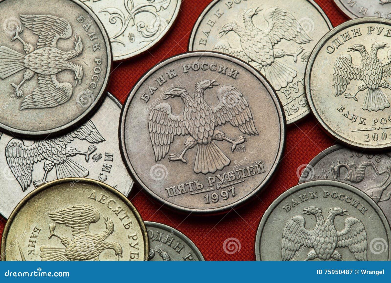 Moedas de Rússia O russo dobro-dirigiu a águia