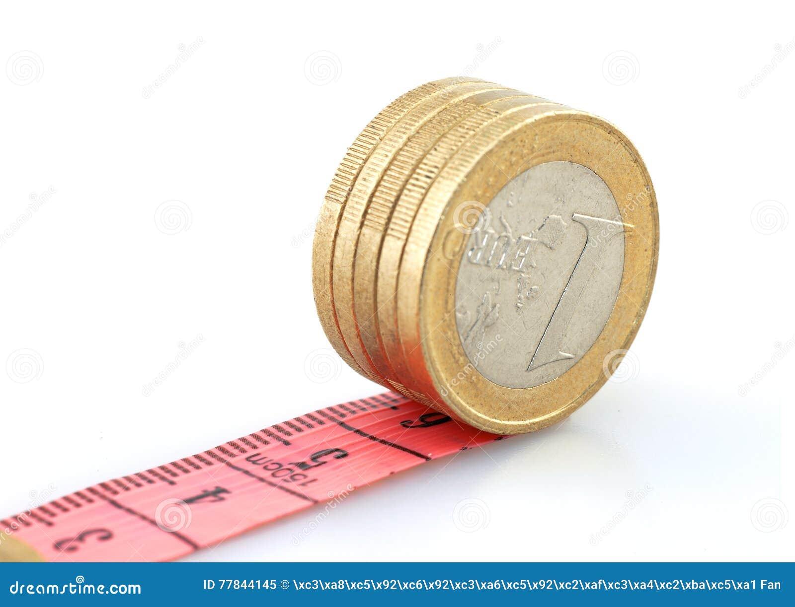 Moedas do Euro que correm na fita