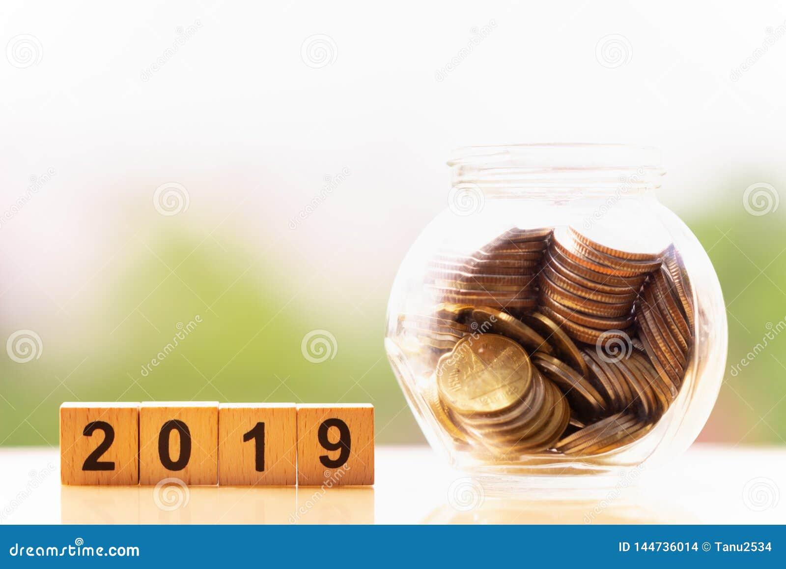 Moedas e palavra 2019 do bloco de madeira no fundo da natureza economia do dinheiro