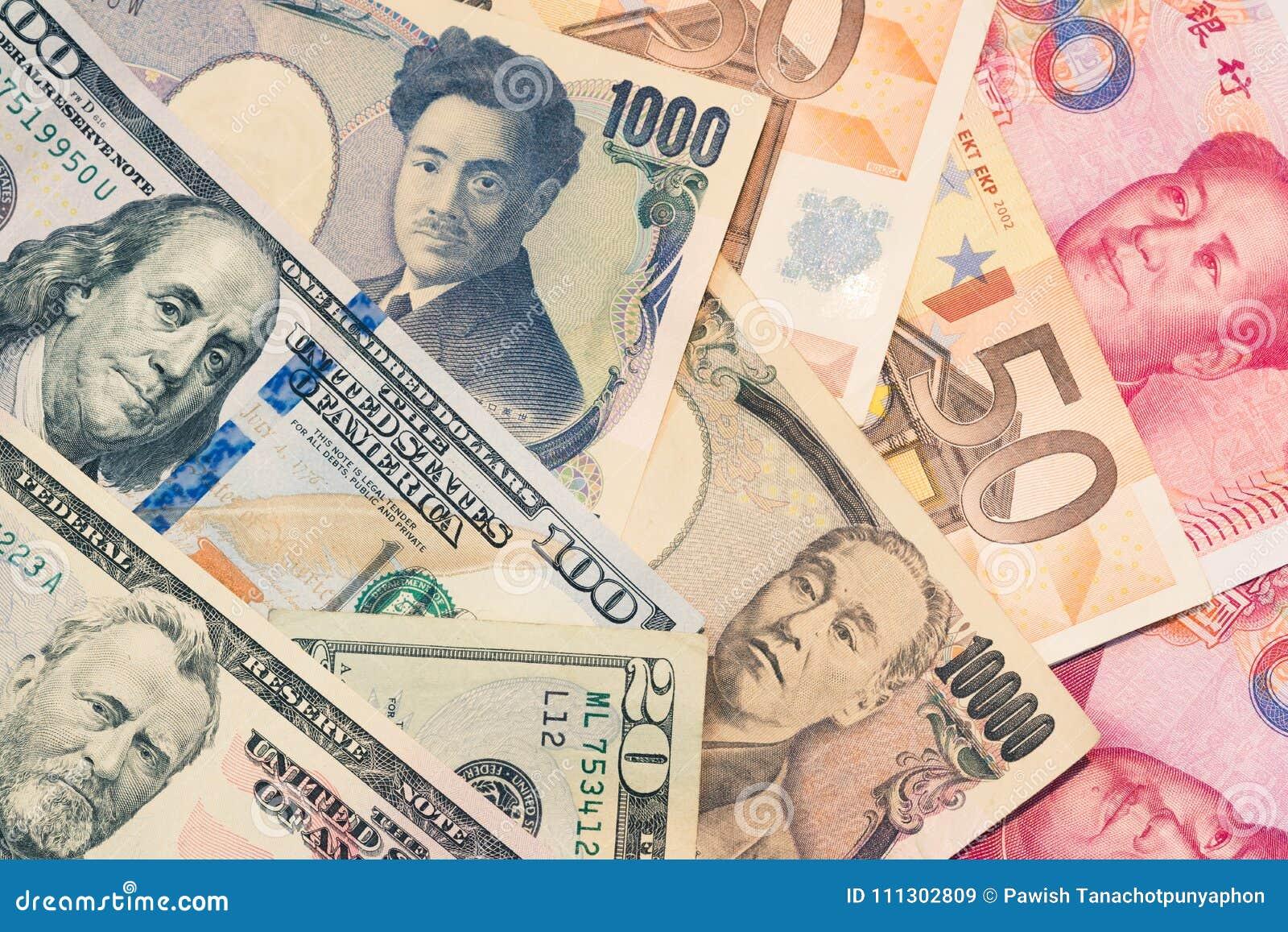 Moedas e troca de dinheiro e conceitos de troca internacionais